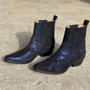 Rabens Saloner Navy Suede Metallic Ankle Boots NEW